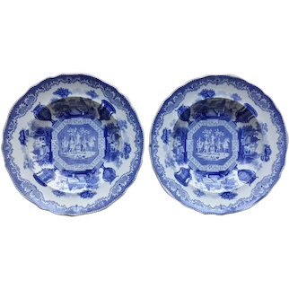 """A Pair of Blue and White Transfer Printed Soup Bowls in the """"Antiques"""" Pattern."""