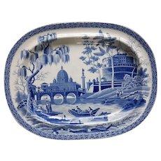 "Blue and White Transfer Printed Platter ""Tiber"" Pattern"