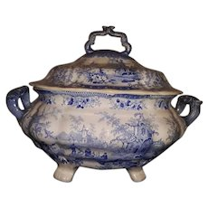 Staffordshire Blue and White Transfer Printed Soup Tureen