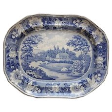 A large Transfer Printed Blue and White Platter,