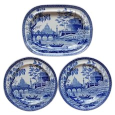 """Blue and White Transfer Printed Small Platter and a Pair of Plates """"Tiber"""" Pattern"""