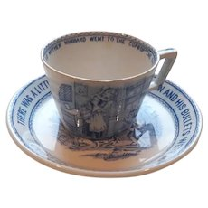 A Toy Transfer Printed Teacup and Saucer with Nursery Rhymes