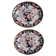 Pair of Crown Derby Co Small Oval Platters in the King's pattern