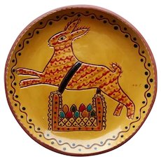A Slip Decorated Redware Easter Bunny Plate