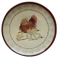 Folk Art Redware Plate by Nancy Anderson