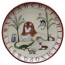 Folk Art Redware Alphabet Plate by Nancy Anderson
