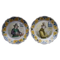 Pair of  18th Century Faience Tin Glazed Earthenware Plates