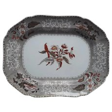 A Large Copeland Camilla Pattern Clobbered Transfer Printed Platter