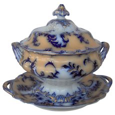 Flow Blue and Amber decorated Soup Tureen, Cover and Stand
