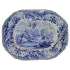"""Indian Scene Transfer Printed Platter titled  """"Part of the City of Moorshedabad"""""""