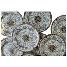 Ashworth's Ironstone Set of Eight Plates, Butterfly and Dragon Pattern