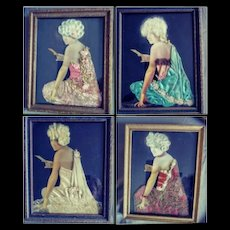 A Four Set of Framed Ladies - 1930s