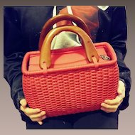 Red Woven Handbag by Putu - 1990s