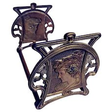 Expandable Book Rack with Classic Mucha Woman's Head