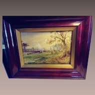 Early 20th c. Watercolor Landscape Painting.  Hunting Scene.  Painted by Arthur Willet, known British Painter.