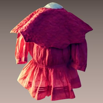 Vintage Coral Cotton Dress For A Doll.