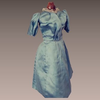 Authentic Edwardian Lady Doll's Blue Satin Dress