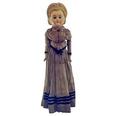 """Early Wax Over Papier Mache Girl With A Winsome Face.  25"""" Tall.  Wonderful Condition."""