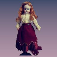 Antique Solid Domed Bisque Lady Doll