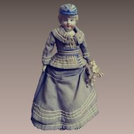 """Unmarked Bisque Bonnet Doll - 9"""" Tall"""