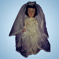 "Mid 20th Century Vinyl Bride Doll-9"" Tall"