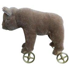 Collector's Steiff Bear On Brass Wheels, 1980s.