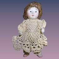 "All Bisque Girl in Crochet Dress - 3"" Tall"