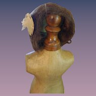 "Sweet Little Mohair Wig with Bow - 8"" Head Circumference"