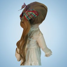 "Gorgeous Antique Doll Wig with Original Bow - 8"" circumference"