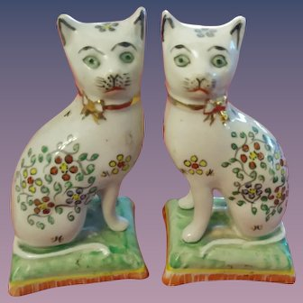 Pair Of William Kent Staffordshire Ware Cats On Green Bases