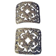 Steel Cut Shoe Buckles.  Intricate Design.  Free Postage - Red Tag Sale Item