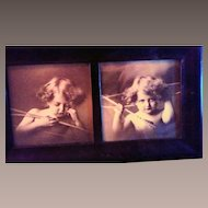 Old Photographic Print of Two Child Cupids.