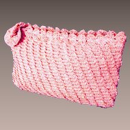 Crocheted Icy Pink Clutch Bag.