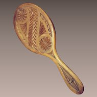 Carved Wooden Hand Mirror.