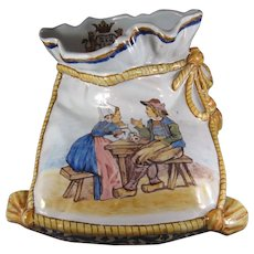 Quimper French Pottery Figural Foot Warmer Vase by Porquier Beau.