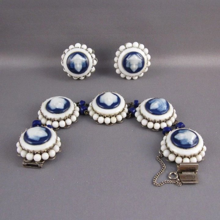66789877379 Freirich Signed Costume Jewelry Bracelet and Earrings Set, C.1960s ...