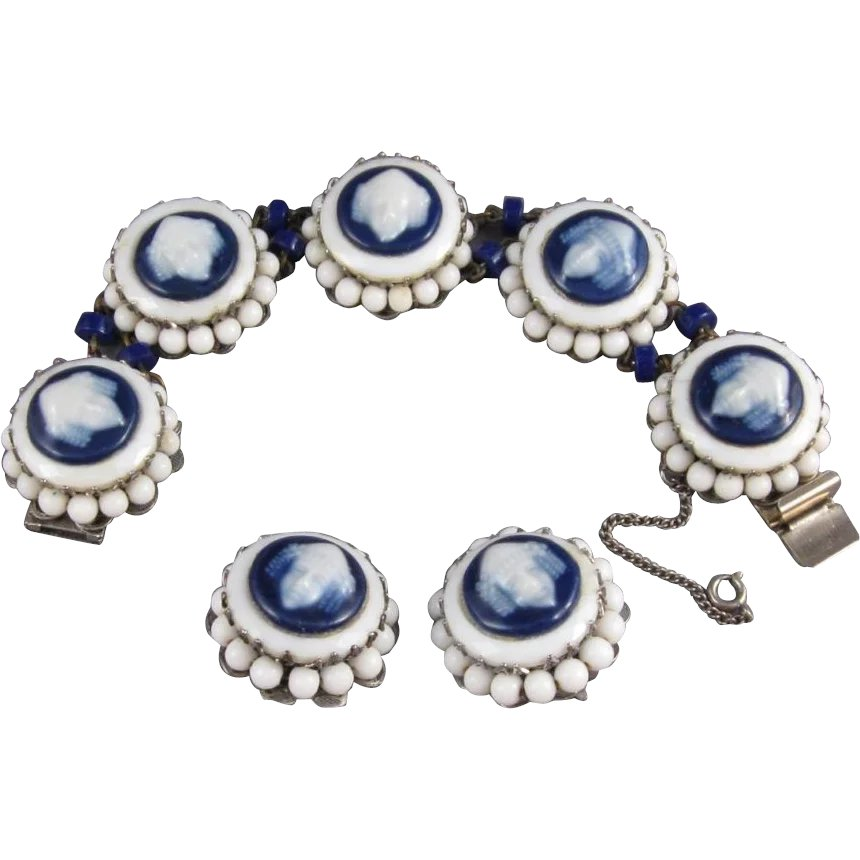 7671a3cc47c Freirich Signed Costume Jewelry Bracelet and Earrings Set, C.1960s. : JG  Gallery | Ruby Lane