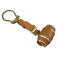 Watch Fob, Brass Barrel, Leather Covered, Vinaigrette or Pill Box C.1920s.