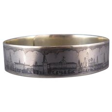 Vintage Russian Scenic Niello Sterling Silver Bracelet, Moscow, Tsars Palace, C.1946.