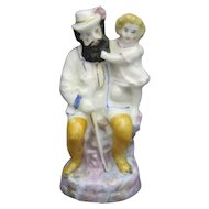 Miniature English Staffordshire Figure Group, Bearded Man and Child C.1880.