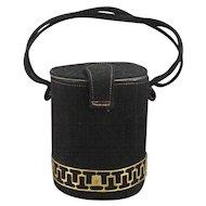 Deco Bolster Cylindrical Purse, Black Velvet Suede, C.1930-40.