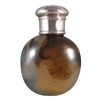 Moss Agate Stone, Carved Scent Bottle with Silver Top, C.1890.