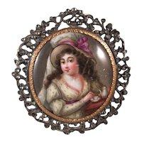 18th Century Enamel Portrait Brooch Pendant, 18K, Diamond, Silver Filigree.
