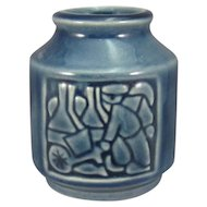 Vintage Michael Andersen & Sons Danish Pottery Vase, Relief Carved, C.1950.