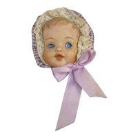 Baby Doll Face Pin, Porcelain Bisque, Vintage, C.1940-1950s.