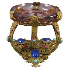 Czech Jeweled Brass Filigree, Glass Intaglio Open Salt Cellar Dip.