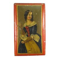 1820s Tin, Hand Painted Portrait Tobacco Snuff Box.