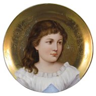 Portrait Plate, Hand Painted Porcelain, Youthful Child.