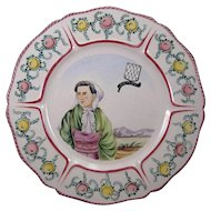 French Faience Bretagne Brittany Quimper Hand Painted Plate, 20th Century.