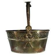 Early Brass Basket, Hand Crafted C. 1800s.